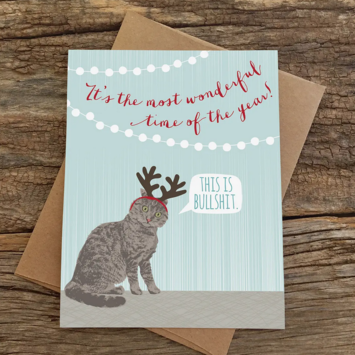 Modern Printed Matter - MPM Wonderful Time (Cat Antlers) Holiday Card