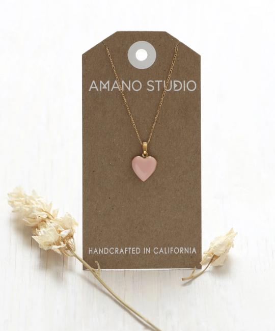Amano Trading 14k Gold Small Blush Heart Locket Necklace