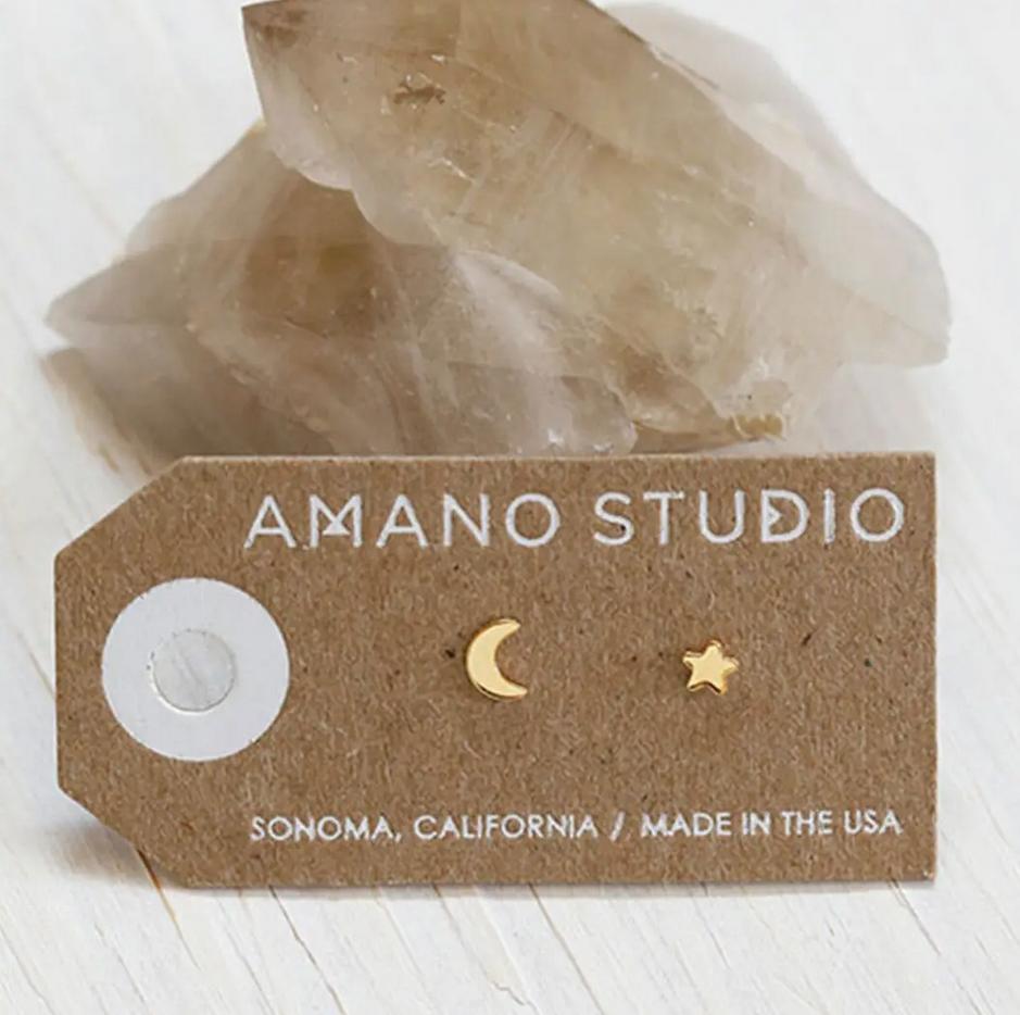 Amano Trading 24k Gold Night Sky Stud Earrings