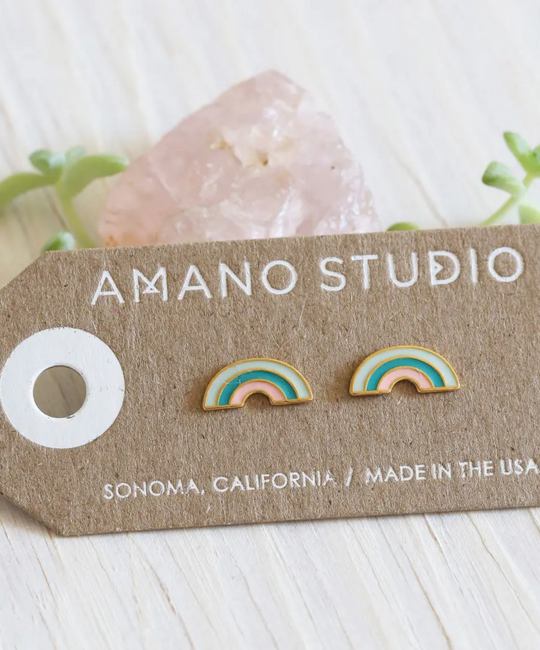 Amano Trading 24k Gold Tropical Rainbow Stud Earrings