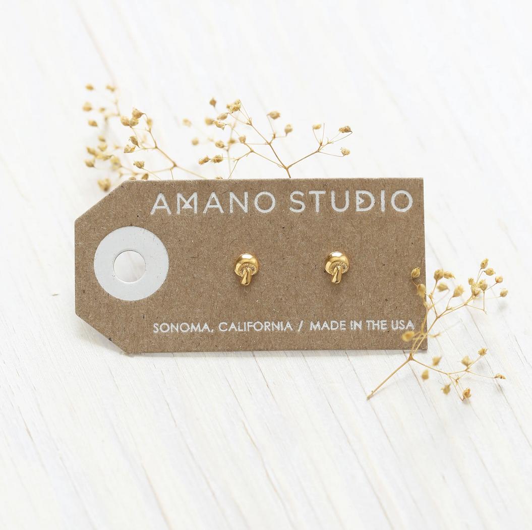 Amano Trading 24k Gold Tiny Mushroom Stud Earrings