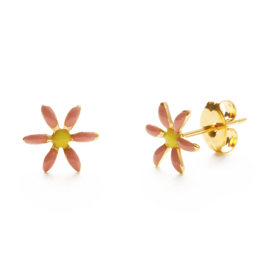 Amano Trading 24k Gold Pink Daisy Stud Earrings