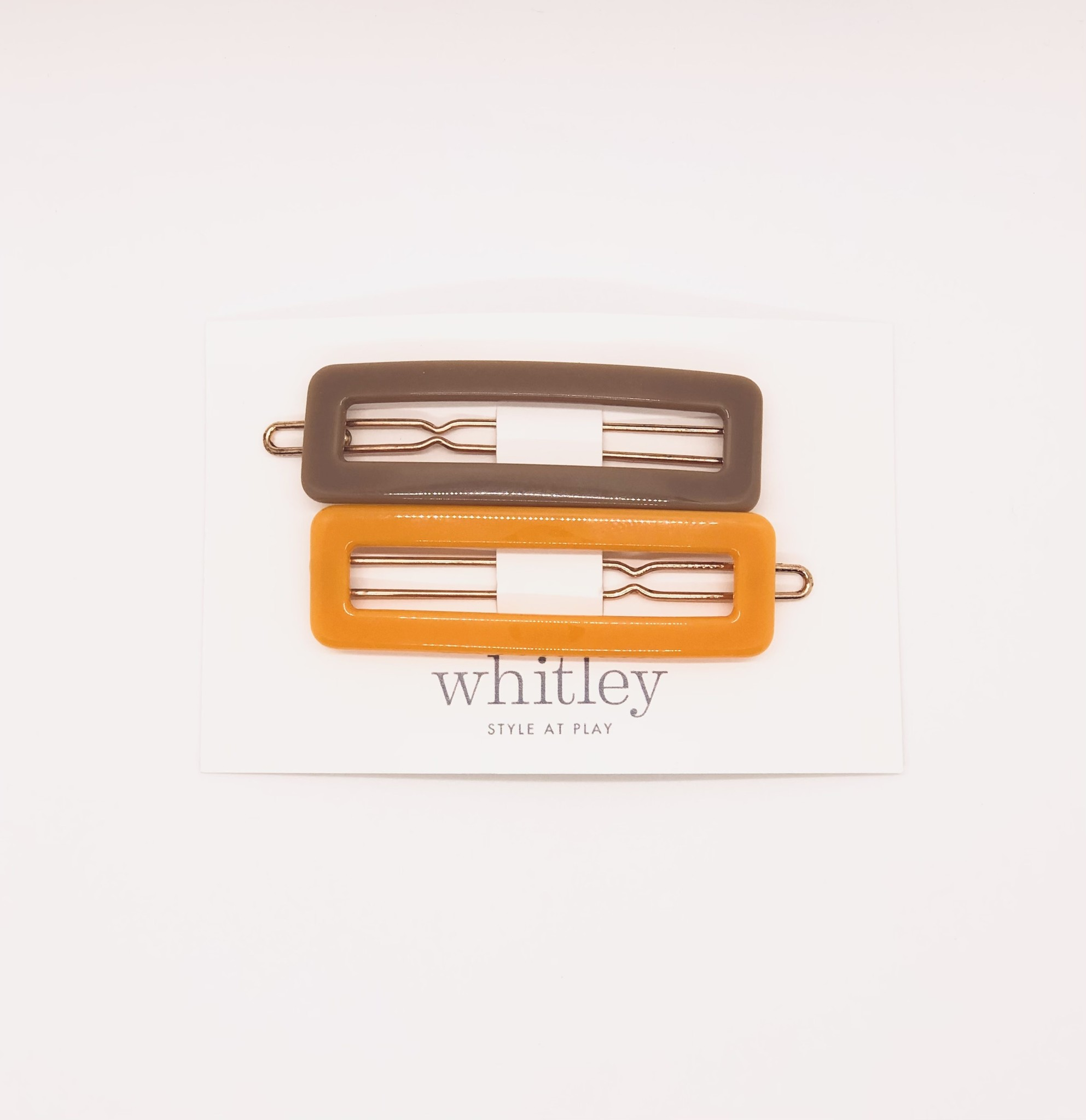 Whitley - WH WH ACHA - Taupe + Orange Rectangle Hair Clip Duo
