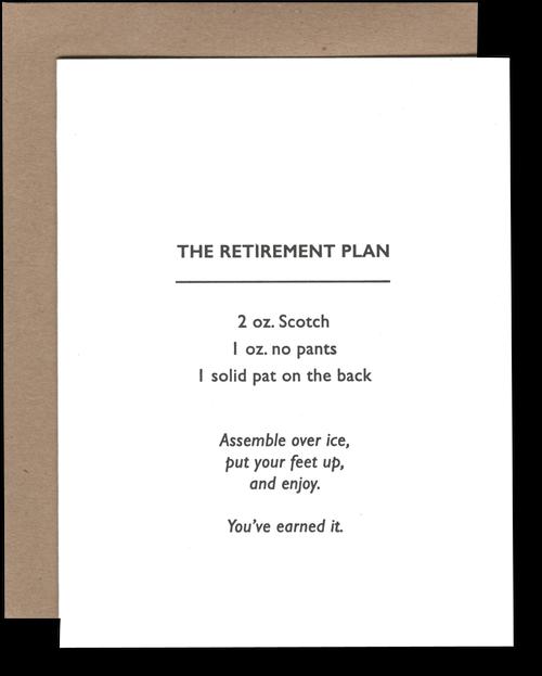 Power and Light Letterpress - PLL Retirement Cocktail (Retirement Plan) Card