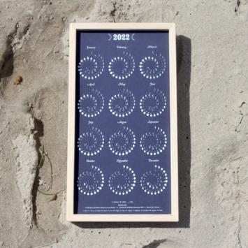 Margins Imprint - MAR 2022 Framed White on Nightsky Moon Phase Calendar