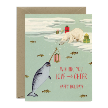 Yeppie Paper - YP Polar Bear and Narwhal Holiday Card