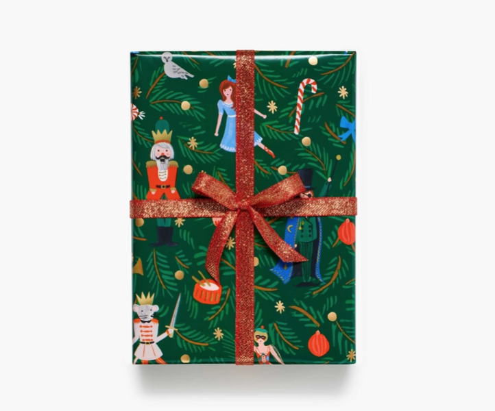 Rifle Paper Co - RP Rifle Paper Co- Nutcracker Continuous Wrap Roll (green background)