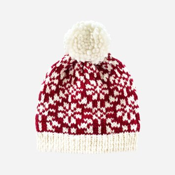The Blueberry Hill - BH The Blueberry Hill - Red Snowfall Hand-Knit Hat