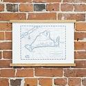 Quail Lane Press - QLP QLP PRLA - Marthas Vineyard Map, 12 x 16, Letterpress