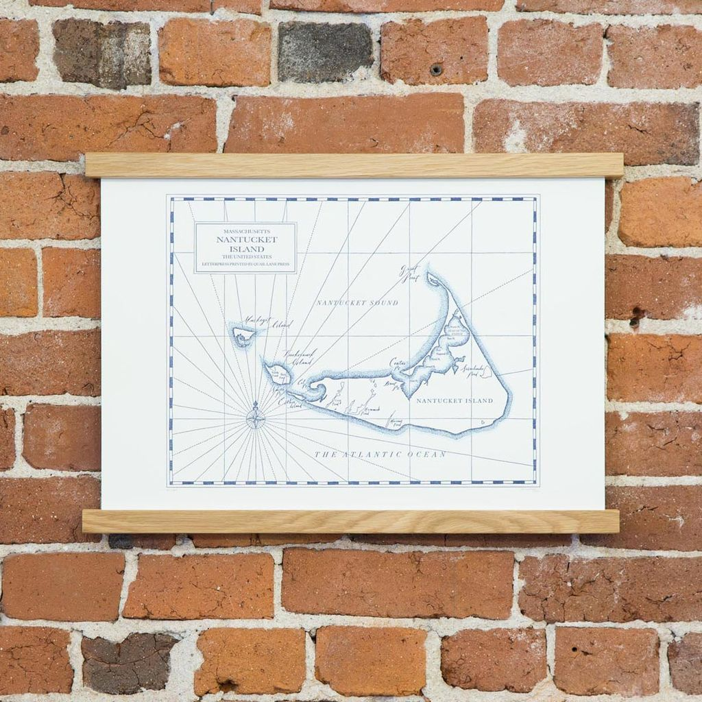Quail Lane Press - QLP QLP PR - Nantucket Map, 12 x 16, Letterpress