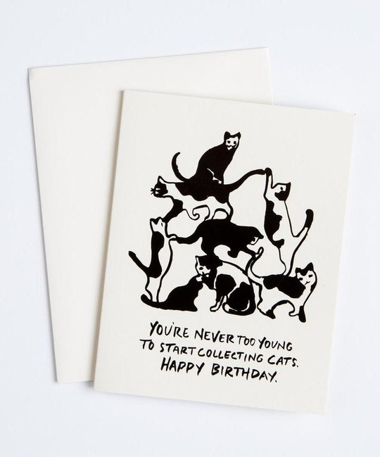 Antiquaria - AN Collecting Cats Tower Birthday Card