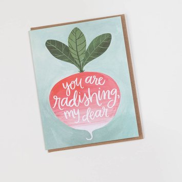 one canoe two letterpress Radishing My Dear Card