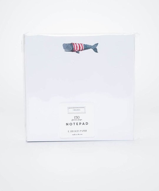 E. Frances Paper Studio - EF EF NP - Stripey Whale Notepad 6 x 6 Inch