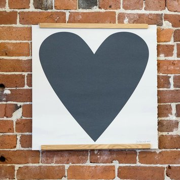 Banquet Atelier and Workshop - BAW Black Heart Screen Print, 50 x 50 cm