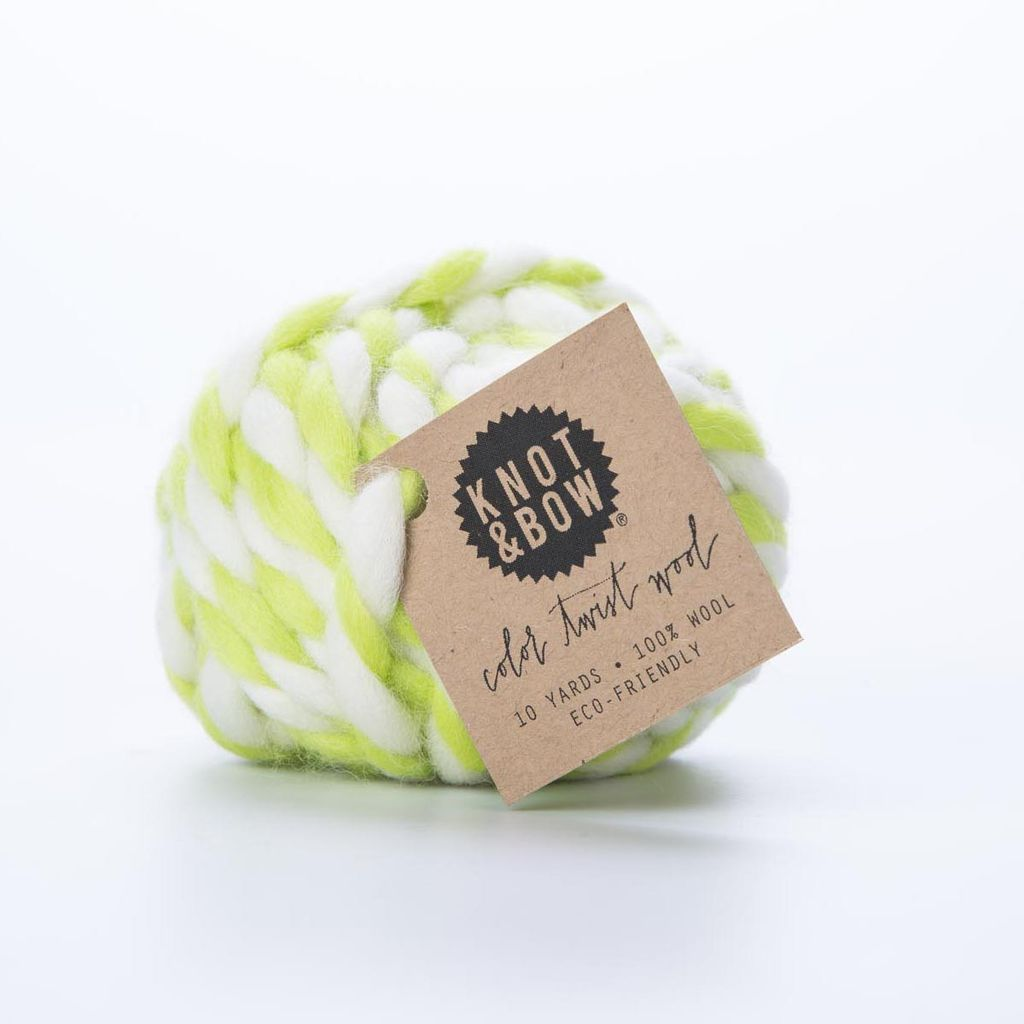 knot and bow KAB RI -Chartreuse Color Twist Wool