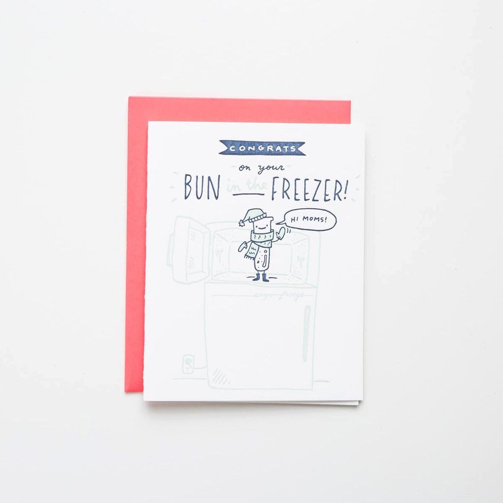 Ladyfingers Letterpress LFGCBA0004 - Hi Moms  -  Bun in the Freezer