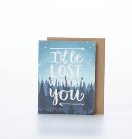 one canoe two letterpress Lost Without You Card