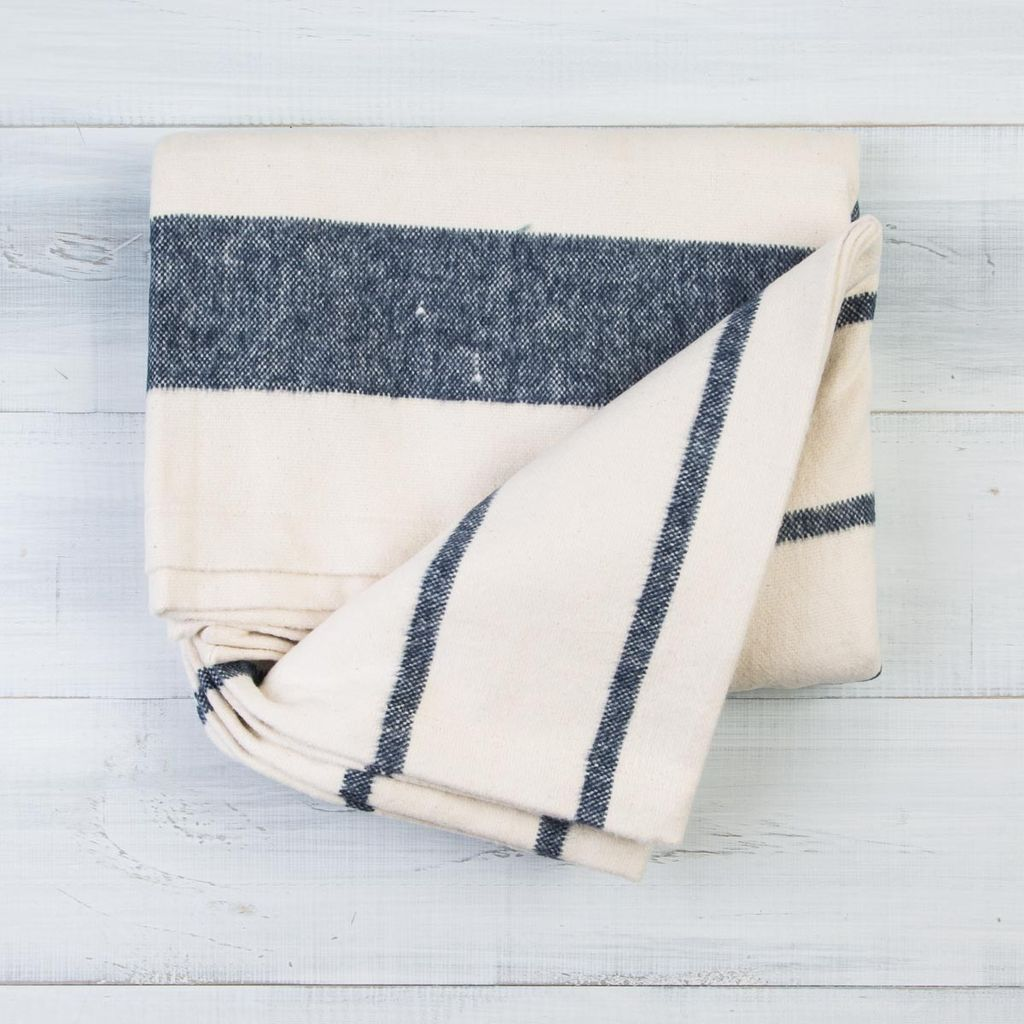 Pehr Navy Cotton Flannel Throw