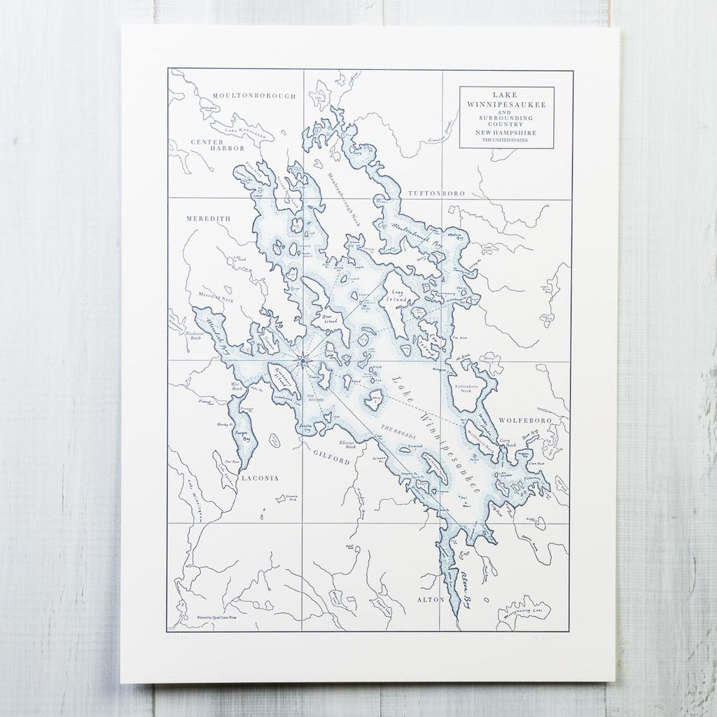 quail lane press Lake Winnipesaukee Letterpress Map