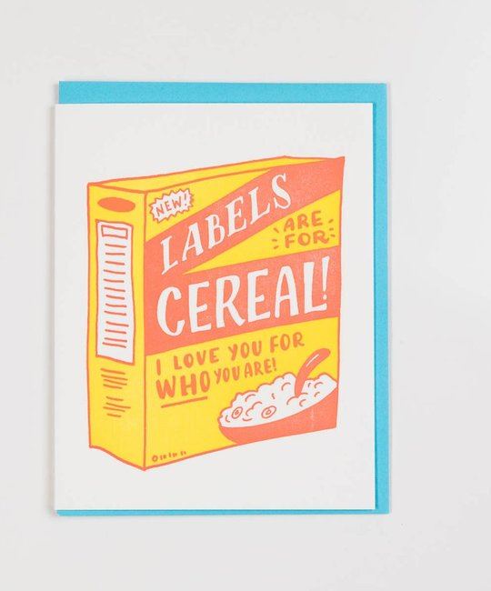 Ladyfingers Letterpress Labels are for Cereal Card
