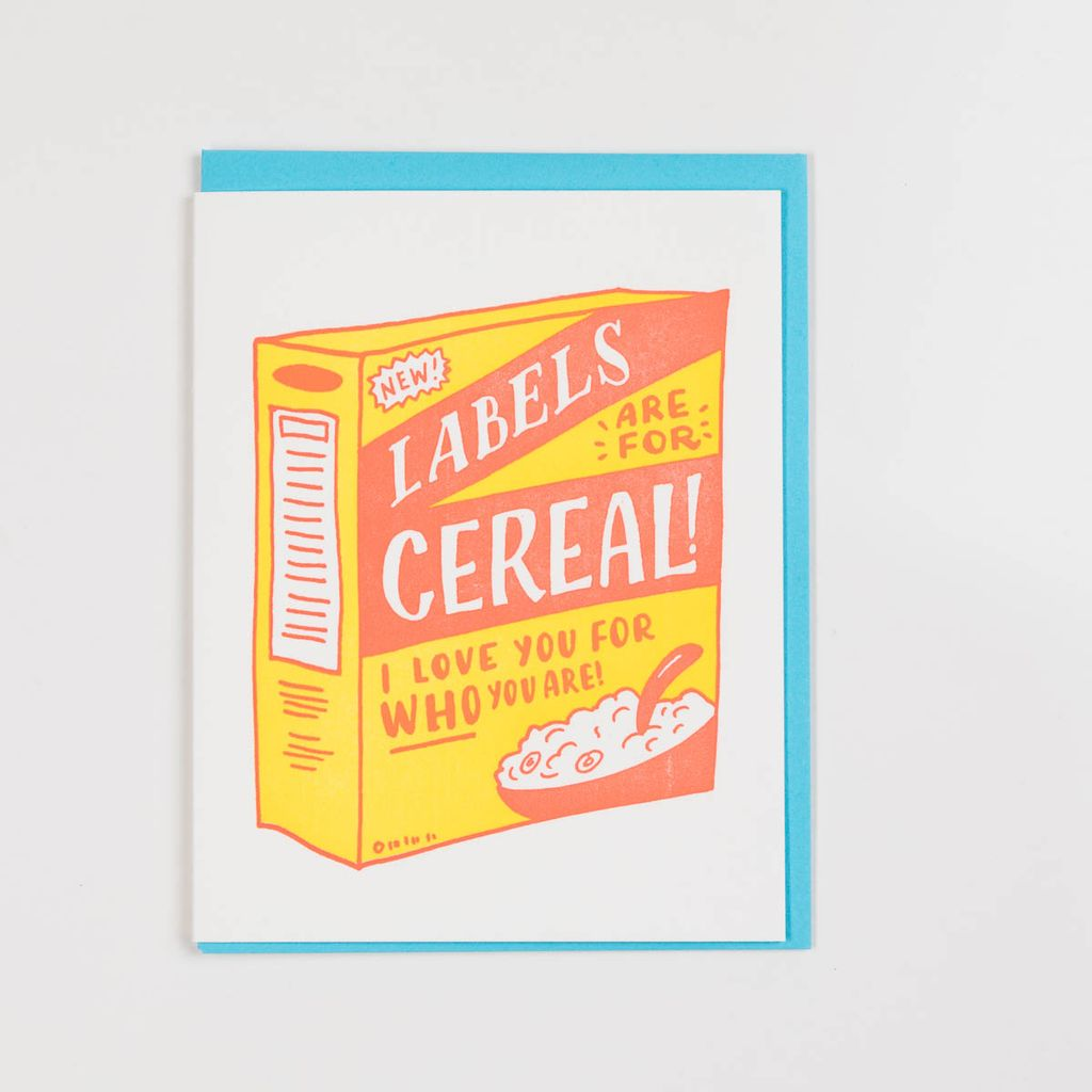 Ladyfingers Letterpress Labels are for Cereal Card