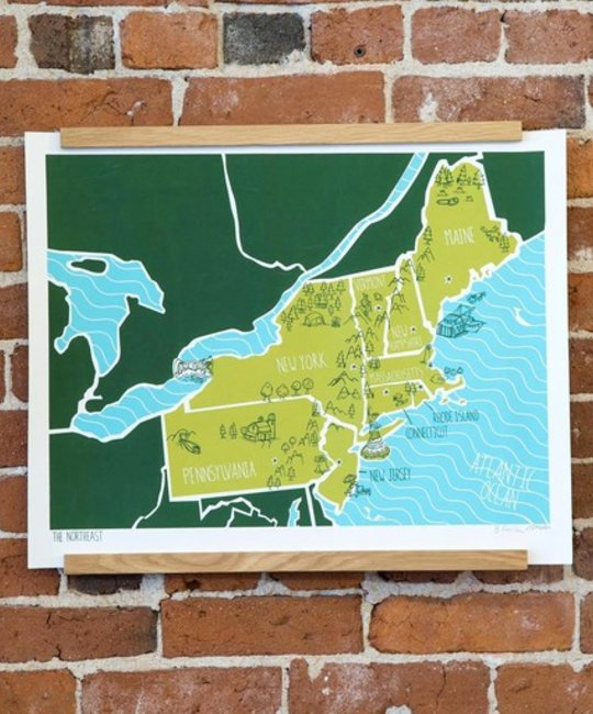Brainstorm Print and Design BSPRLA - american atlas northeast 16 Inch x 20 Inch
