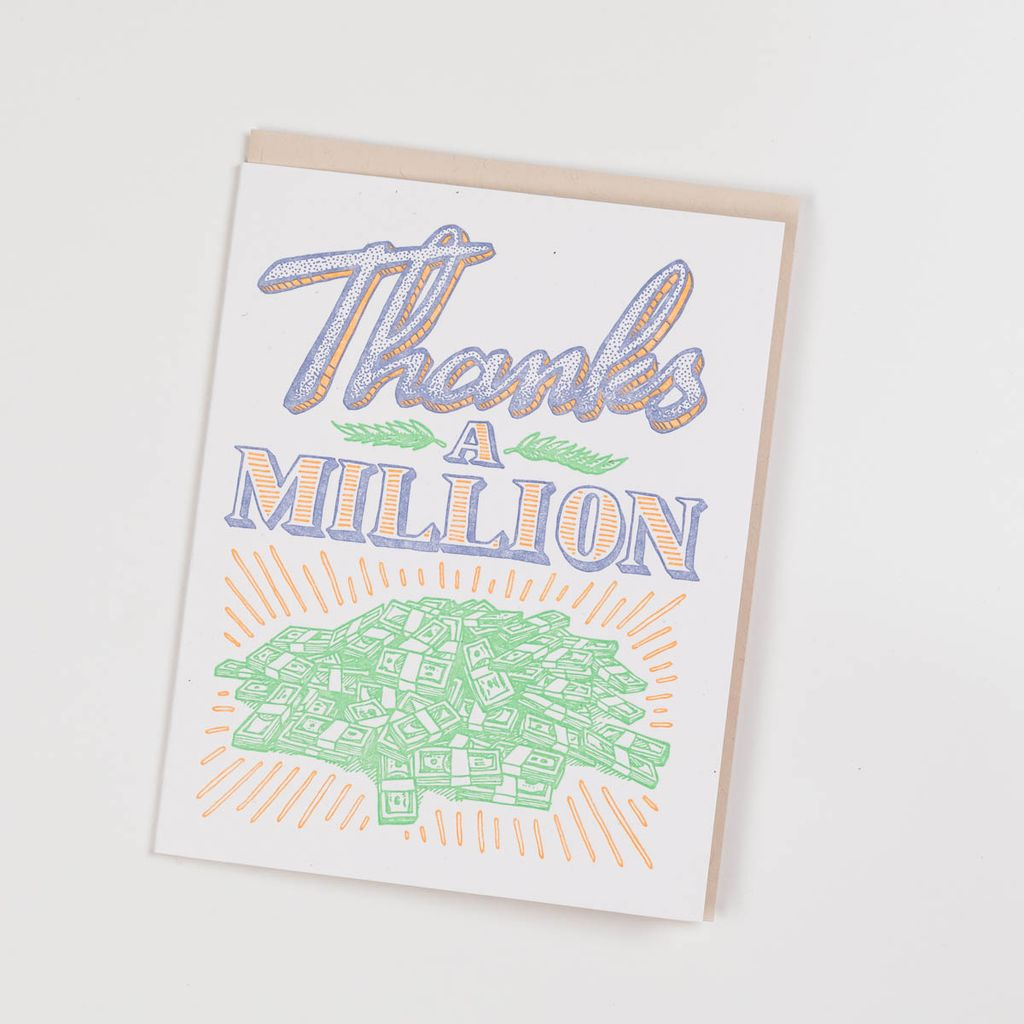 BISON bookbinding and letterpress Thanks a Million Card