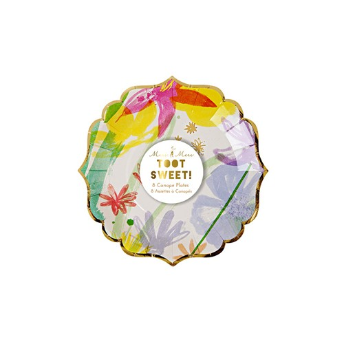 Meri Meri MEM PS - Painted Flowers Small Plates 8 pk