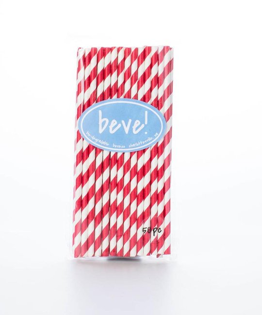 beve! Red Stripe Paper Straws