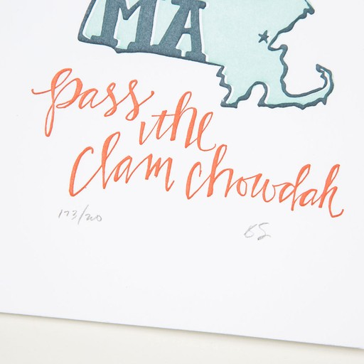one canoe two letterpress OC PR - MA loudah chowdah 5 Inch x7 Inch print