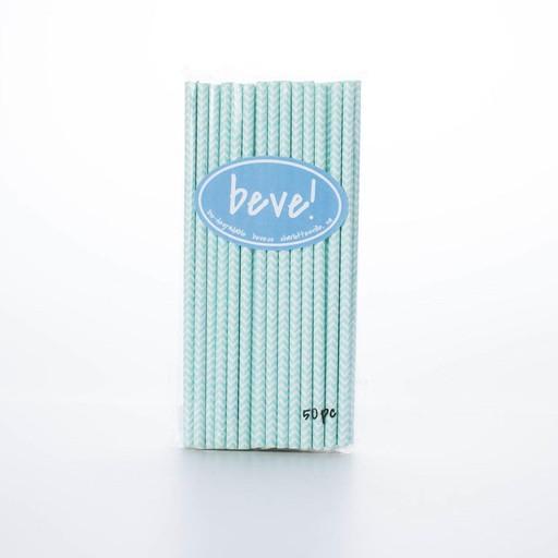 beve! Blue Chevron Paper Straws