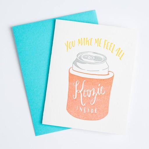 Ladyfingers Letterpress Koozie Inside Card