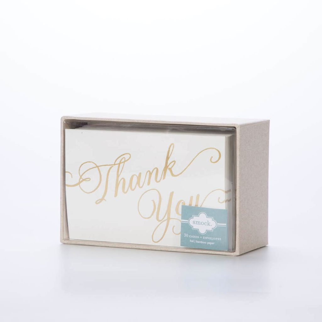 Smock Script Thank You Notes 30 Pack Gus And Ruby Letterpress