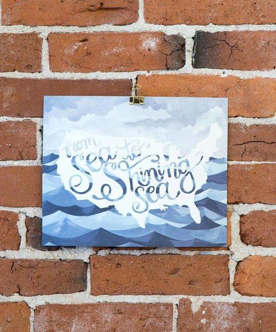 one canoe two letterpress Sea to Shining Sea, 8x10 print