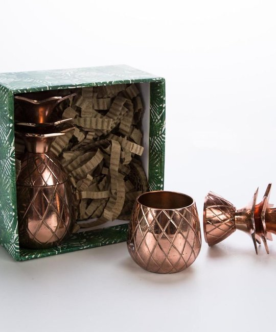 w and p design Copper Pineapple Shot Glass Set