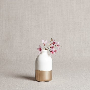 Honeycomb Studio White and gold leaf porcelain bud vase