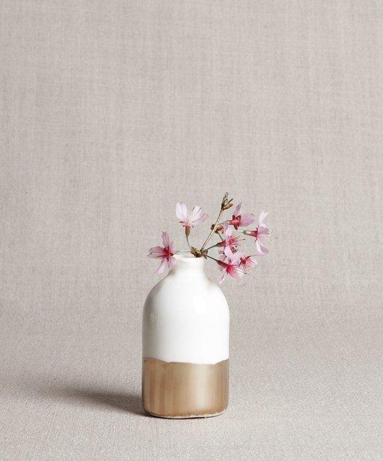 Honeycomb Studio - HCS White and gold leaf porcelain bud vase