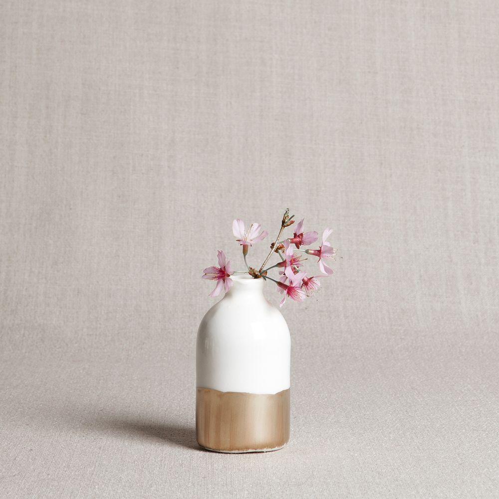 Honeycomb Studio White and gold leaf porcelain bud vase