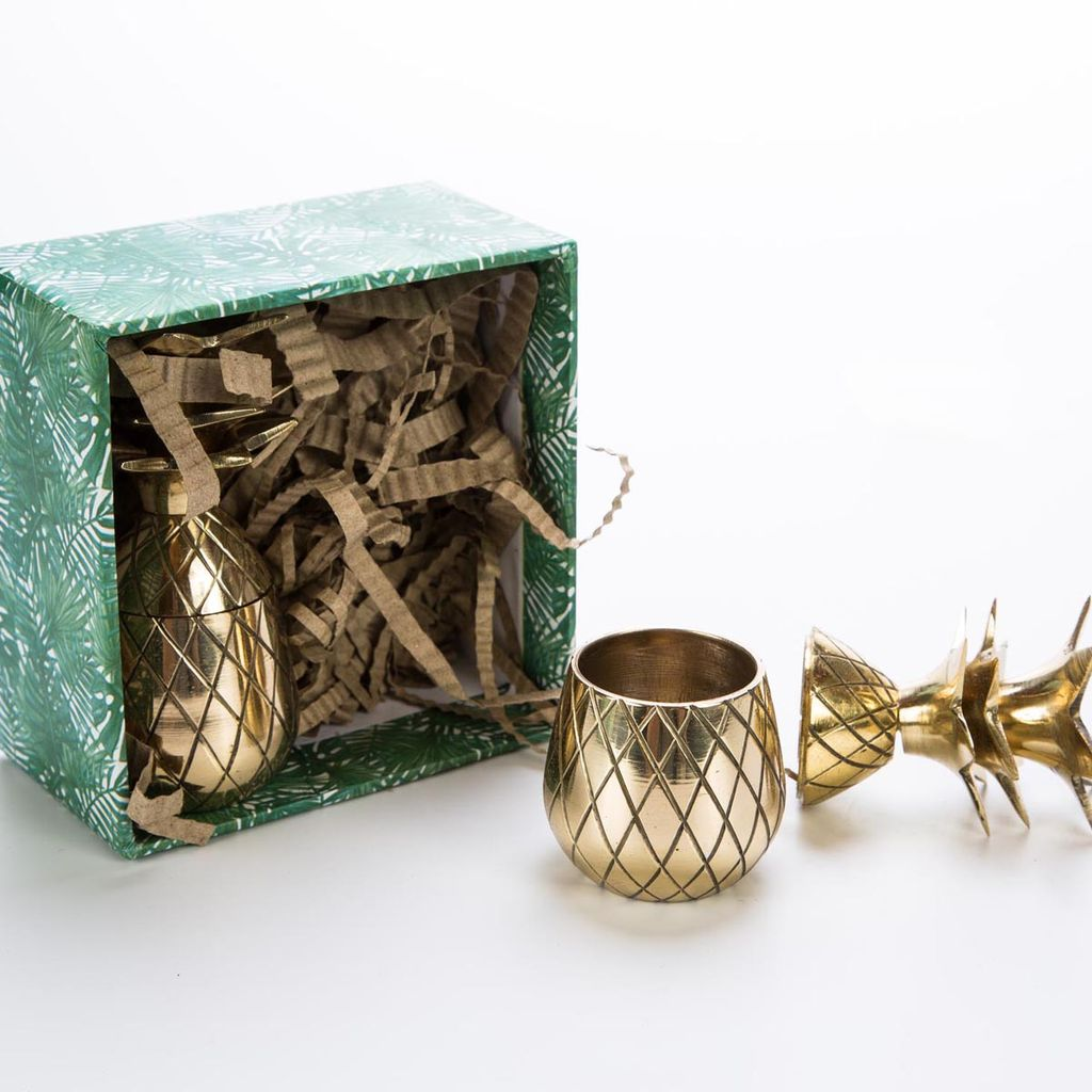 w and p design Gold Pineapple Shot Glass Set