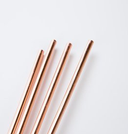 "w and p design Copper 10"" Metal Straws with Cleaning Brush"