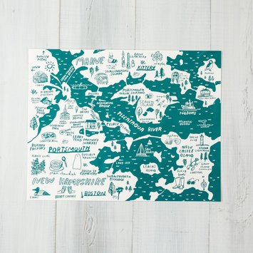 People I've Loved PIL PR - Portsmouth + Kittery Map, Teal Print 11 x 14
