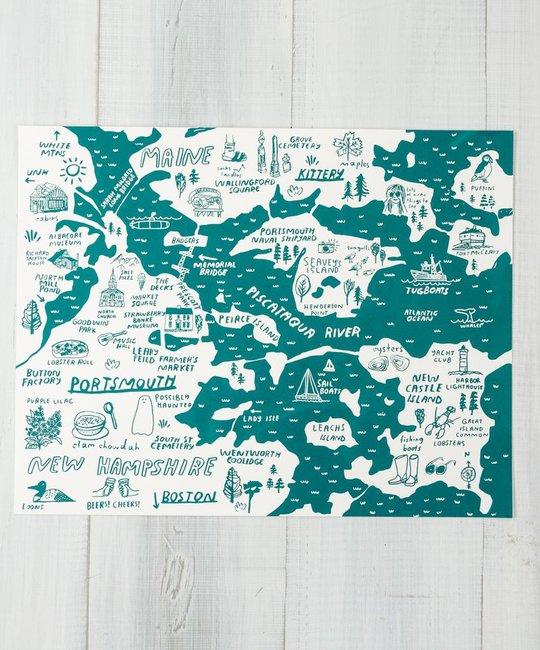 People I've Loved Teal Portsmouth + Kittery Map Art Print