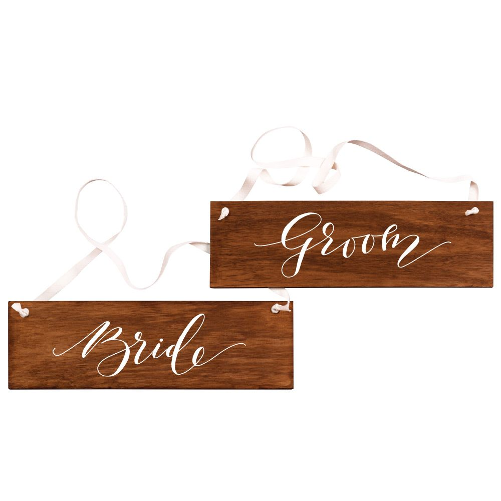 Fox and Fallow Bride & Groom Timber Sign Set