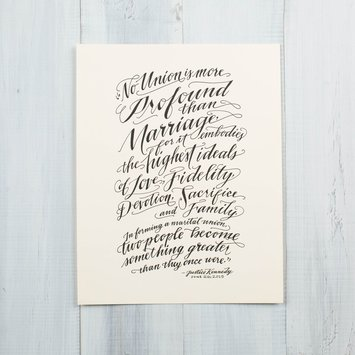 Ladyfingers Letterpress - LF Hand Lettered Marriage Print