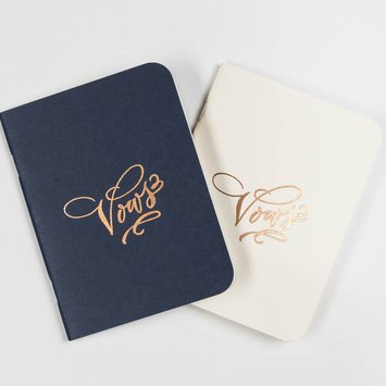 Antiquaria - AN Cream and Navy Vows Notebook Set of 2