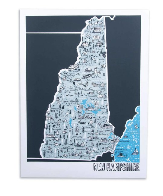 "Brainstorm Print and Design New Hampshire Map Screen Print 18""x24"""