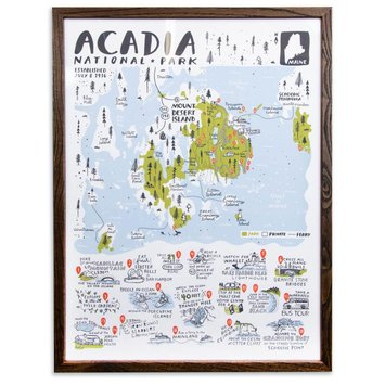 "Brainstorm Print and Design - BS Acadia National Park Map Screen Print 18""x24"""