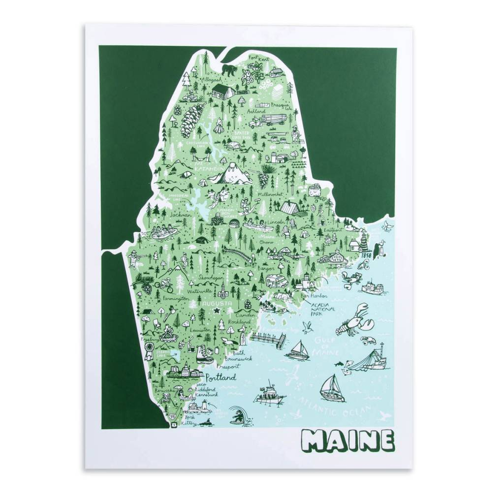 "Brainstorm Print and Design Maine Map Screen Print 18""x24"""