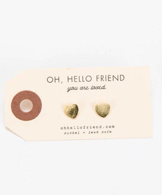 Oh Hello Friend Heart Stud Earrings, Gold