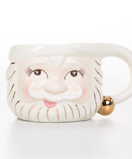 One Hundred 80 Degrees White Santa Mug (Open Eyes)